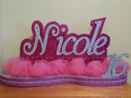 Nicole with tulle rounded base candelabra