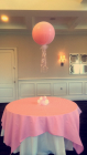 pink tulle wrapped balloon on balloon base