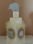 Elephant gray yellow baby block centerpiece